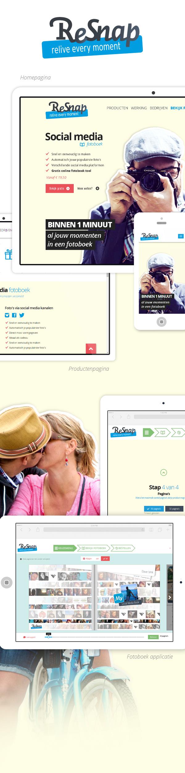 ReSnap ui/ue front-end Social media fotoboek Fotoboek