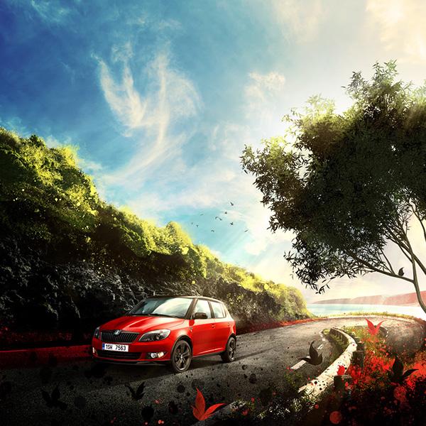 Skoda  fabia summer red monte carlo car ride sea