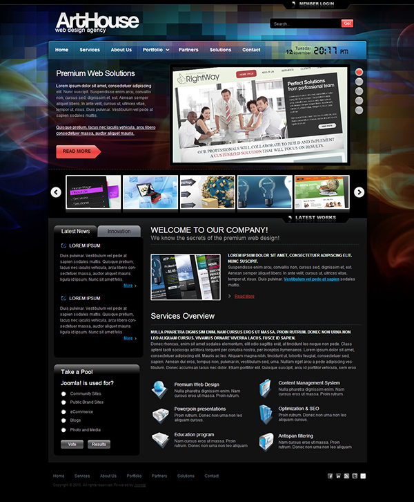 template for joomla 168 with arthouse joomla template on behance
