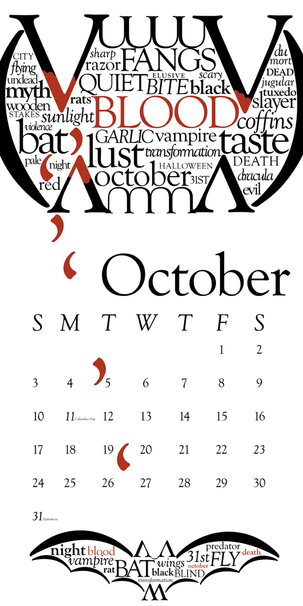 typography calendar october on behance