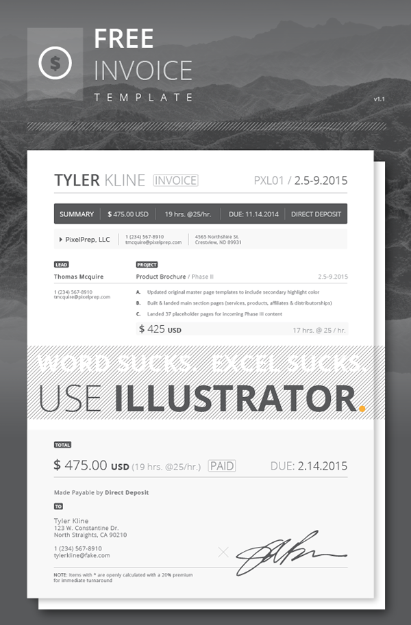 Free Invoice Template On Behance - Invoice template illustrator