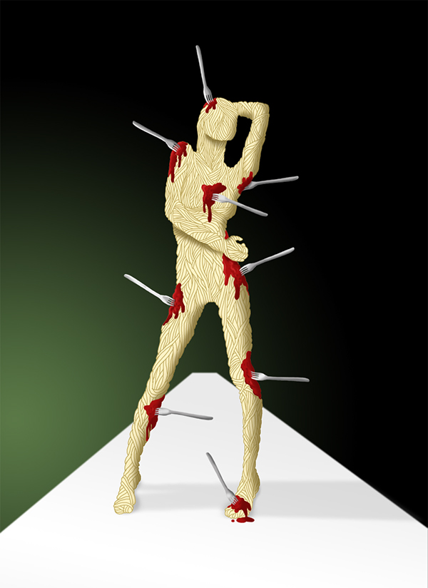 spaghetti  FOOD  tomato fork pulp  Blood  girl model