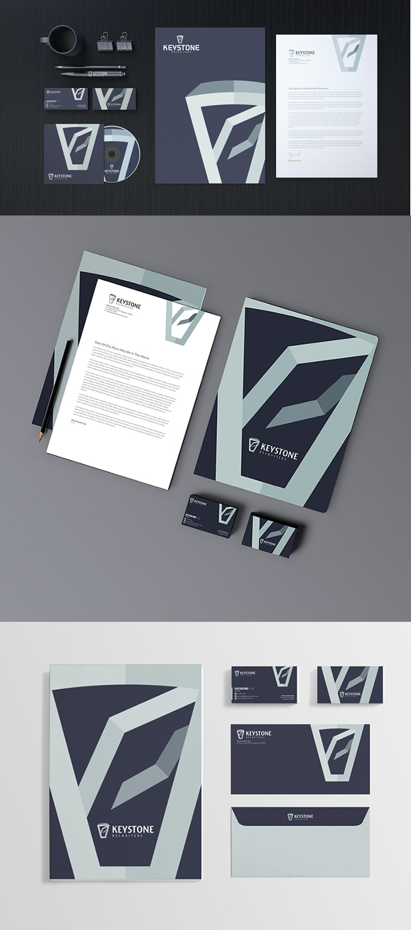 brand,stationery design,VI,identity,envelope,logo,Logotype,blue,navyblue,stone,keystone,recruitment,letterhead,business,card