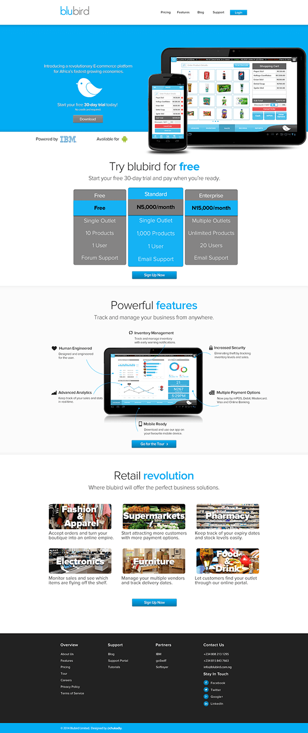 Blubird Retail App Web UI