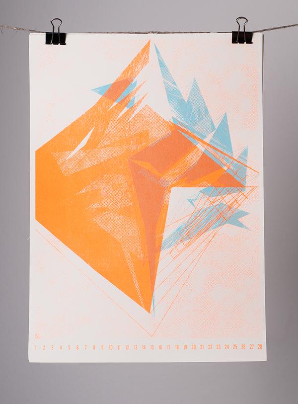 siebdruck,kalender,Siebdruckkalender,illustriert,gedruckt,atelier,Atelier Schreinerei,schriftgestaltung