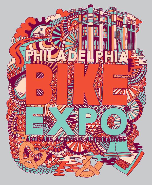 San Diego Custom Bicycle Show R.E.Load poster drawings tshirts Philadelphia Bike Expo gigposters