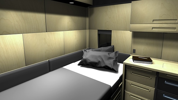 Self-installation semi-truck sleeper interior on Behance