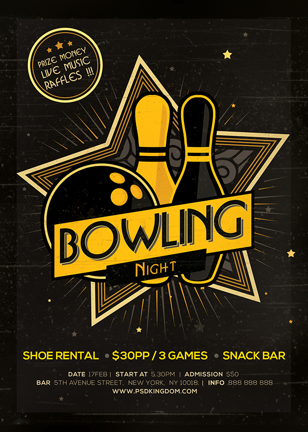 Bowling Night Flyer / Magazine Ad On Behance