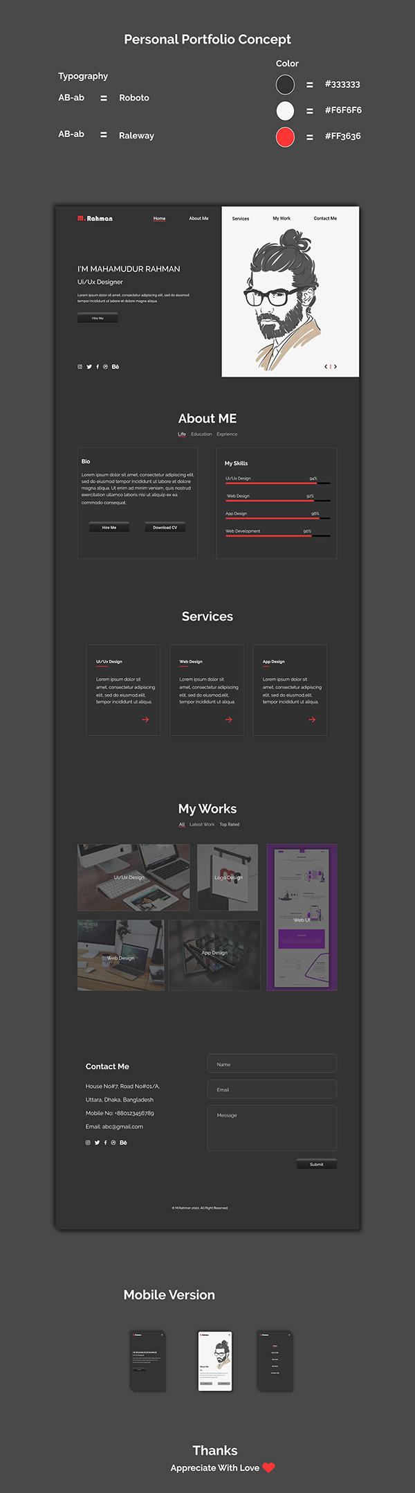 Personal Portfolio - UI Design Concept
