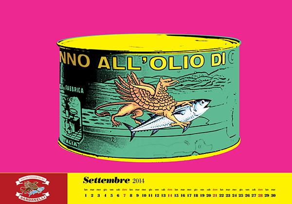 tuna tonno calendario calendar Pop Art Andy Wahrol rodchenko Pointilize Depero Keith Haring New York sardanelli intertonno paciola