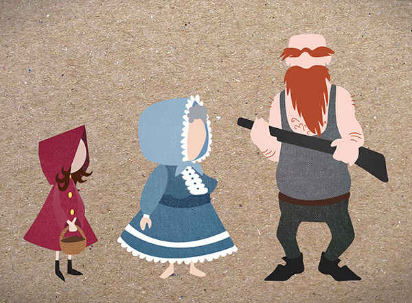 fairy-tale characterdesign LRRH little red riding flat design Character no eyes