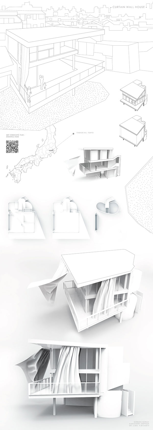 Curtain Wall House By Shigeru Ban On Behance