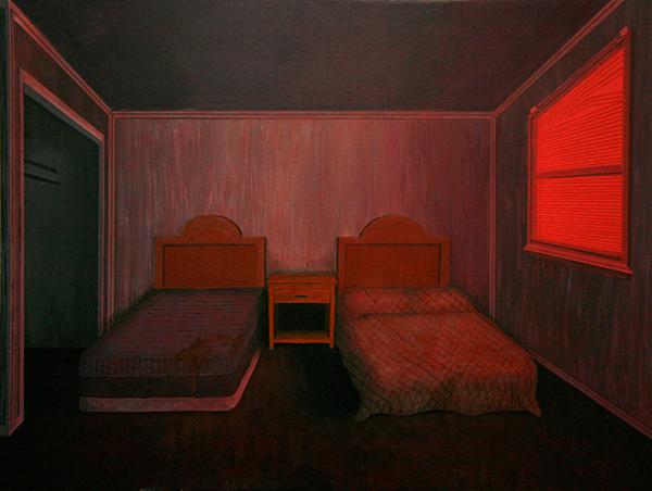 acrylic wood Interior suburbia america americana eerie uncanny David Lynch Gregory Crewdson living room motel neon red green