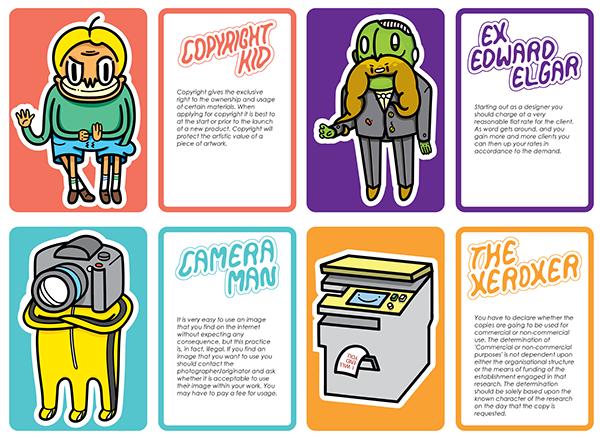 design cards tradingcards Mailshot drawings Illustrator SuperHero villain zombie photocopier camera boy