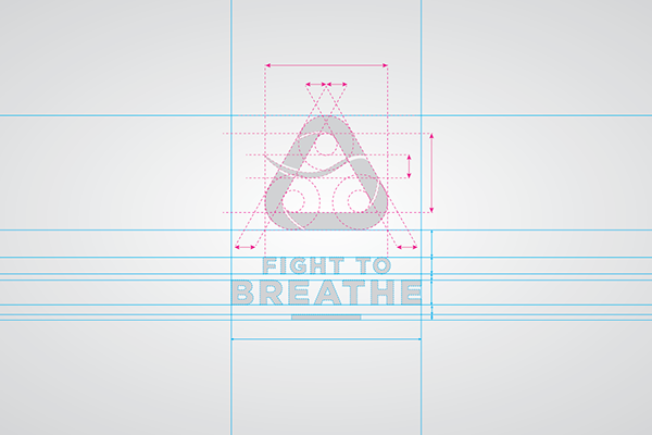 fight to breath blue grey aconcagua charity brand Logo Design