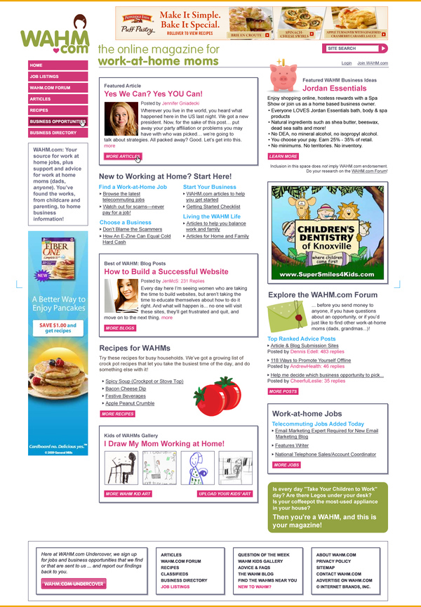 wahm.com website design - work at home moms website and community