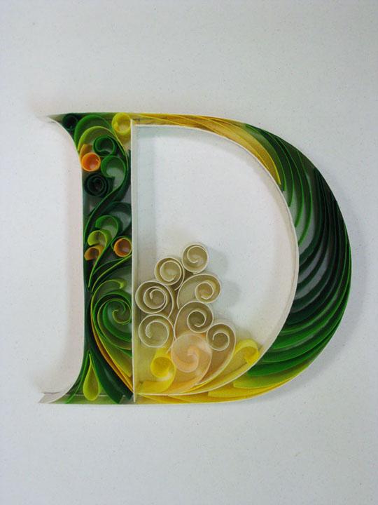 paper alphabets letters sabeena karnik Swirls colored paper craft