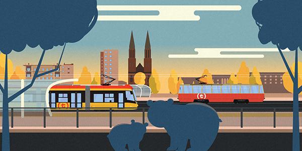Warsaw Trams Flat Illustrations.