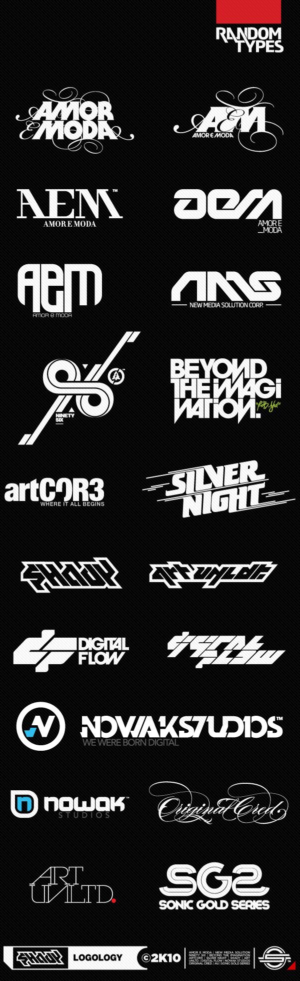 logos logo random types 5 shady art unltd. amor e moda AEM nms 96 beyond the imagination artcore silver night digital flow NOWAK STUDIOS ORIGINAL CRED.