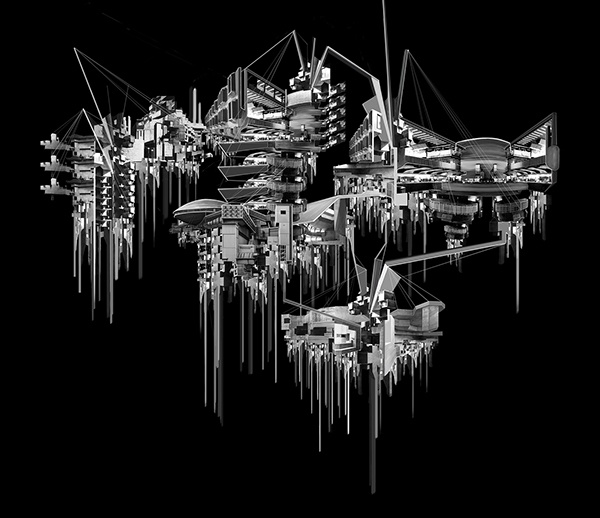xavier nu-humana xavier of the world factory fiften Space  concept art digital direction art space elevator Hives Aqua Terra