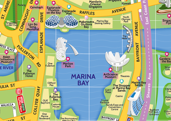 Tourist Map of Marina Bay Singapore on Pantone Canvas Gallery – Tourist Attractions Map In Bay Area