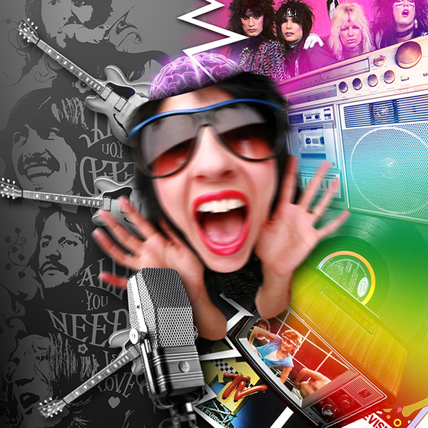 composition colors Beatles ringo exercise microphone guitar girl Sunglasses
