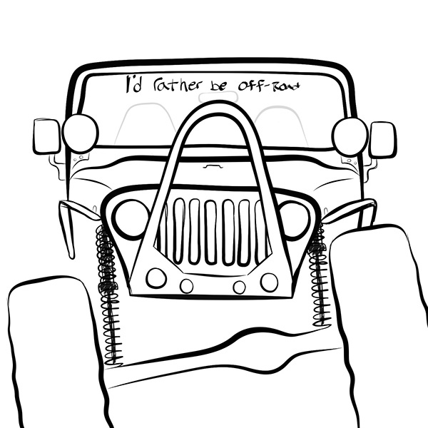 jeep wrangler drawing sketch coloring page