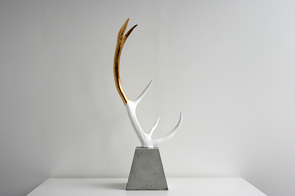 Jewellery jewelry Stand sculpture antler deer rack White concrete yours Yours Design ys YS Collective Daniel Kamp casting