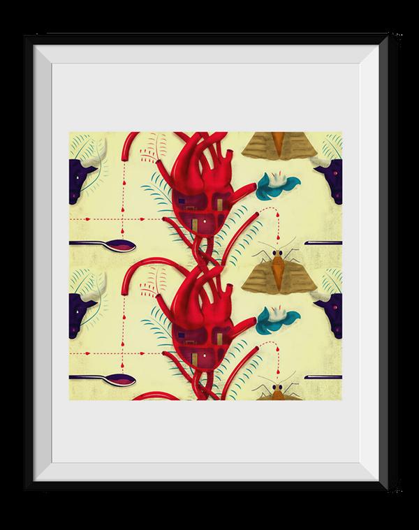 pattern heart cortazar design book illustrated digital art book editorial anatomic heart Collection Stories