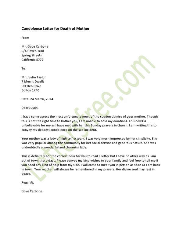 Doc7361040 Condolence Letter Sample The 25 best ideas about – Formal Condolence Letter