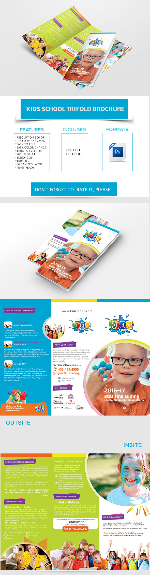 Kid s school trifold brochure template free download on for Brochure templates for school project