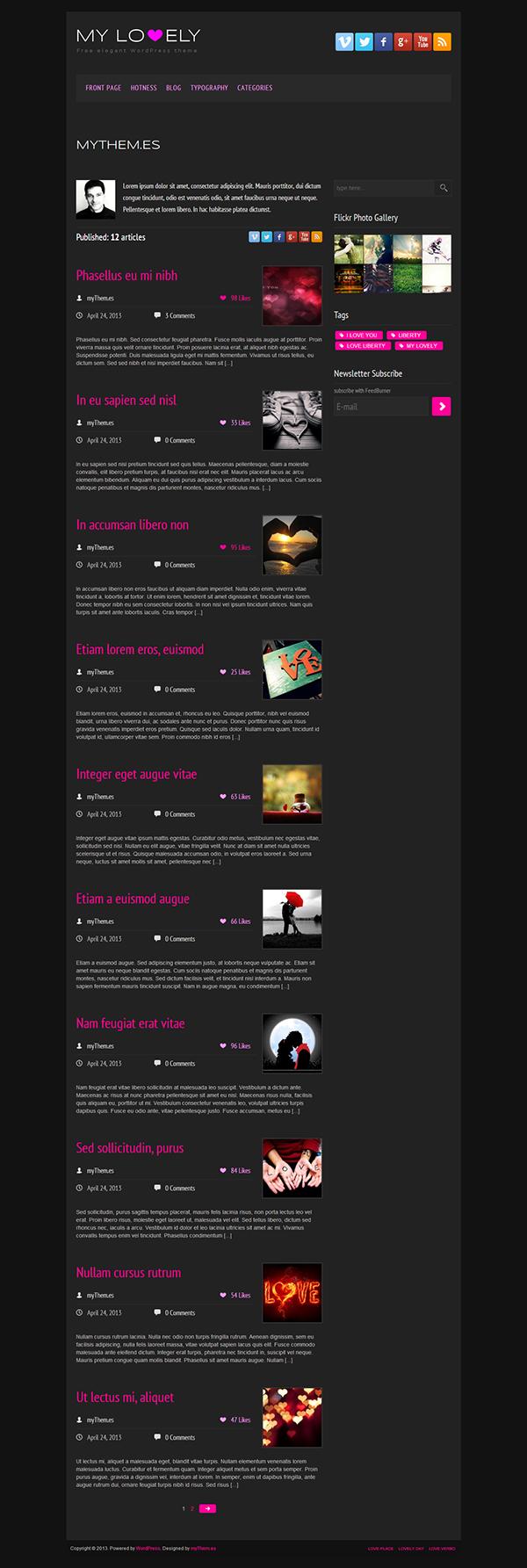 black custom features dark theme elegant Theme Free Template free wordpress theme heart Internal Likes Lovely Theme minimalist Pink Purple wordpress wordpress theme