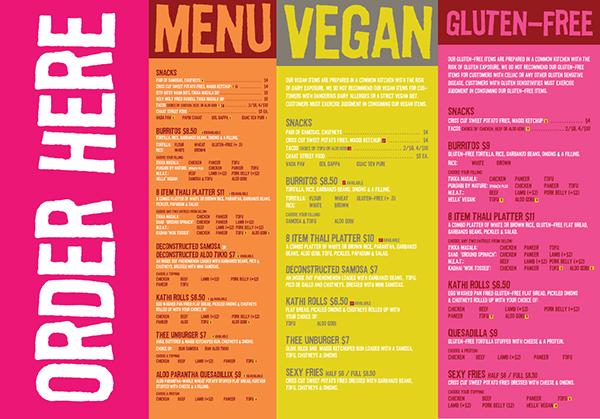 Curry up now branding restaurant food truck design on for Food truck menu design