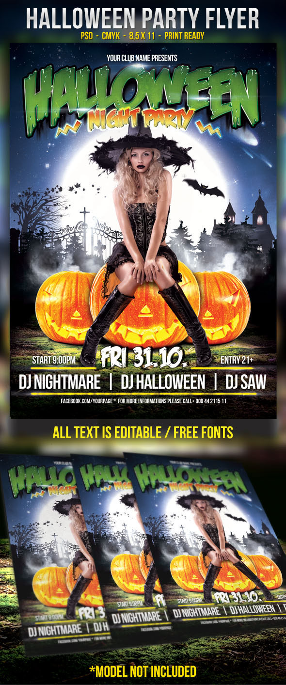 Free Halloween Party Flyer Template On Behance