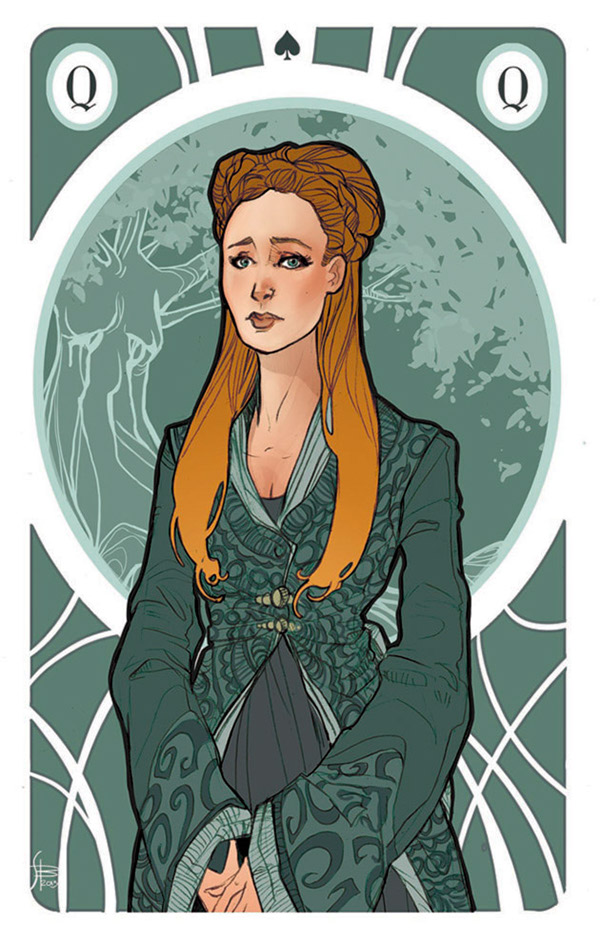 Game of Thrones george martin ma Melisandre di Asshai sansa stark Cersei Lannister Margaery Tyrell card cards Queens queen Liberty Art Noveau daenerys targaryen dragons