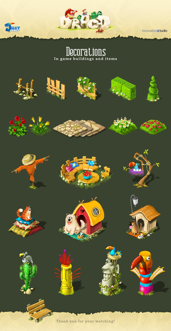 decorations in game buildings and items on behance