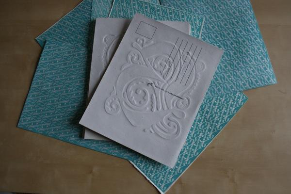 linocut postcards pattern ornament barcelona Lasercut ana types type  porto  Oporto Portugal fbaup FBAUB linoleum  tradicional printing  printing  emboss  relief