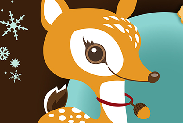 xmas,postcard,greetings,deer,bauble