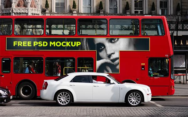 Mockup free freebie free mockup  free psd psd template Smart banner T-Side mockup psd advertising psd smart object bus London
