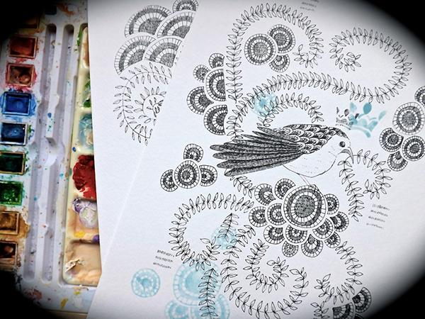 ink black  bird  watercolour leaves  pattern realistic nest hope details organic