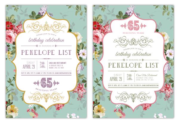 65th birthday invitation | Penelope List on Behance