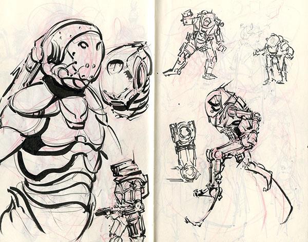 brush pen sketch ink Skethbook