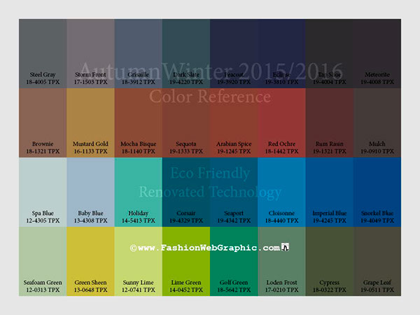 Colors for pantones top fashion and interior colors