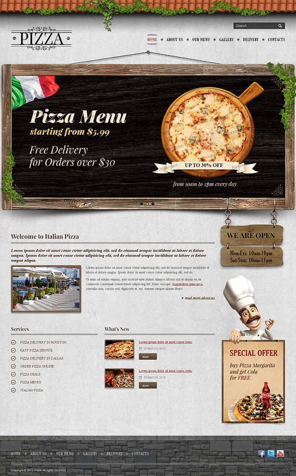 pizza delivery twitter bootstrap html template on behance