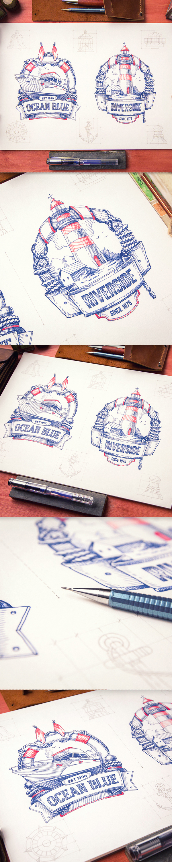 Logotype logo sketch identity badge STEAMPUNK wood leather type yacht lighthouse jellyfish glass paper pencil
