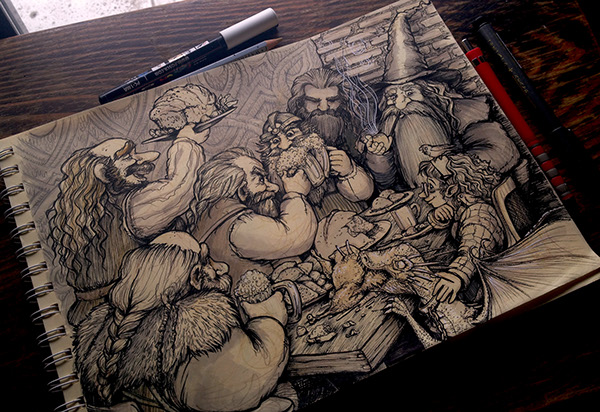 Hobbit Fanart Bilbo S Dinner Party On Behance