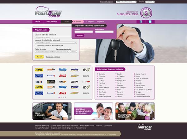 Diseño y funcionalidad para el sitio dedicado a renta de autos Rentacar.com.ar. Trabajo realizado en Lion Agency.