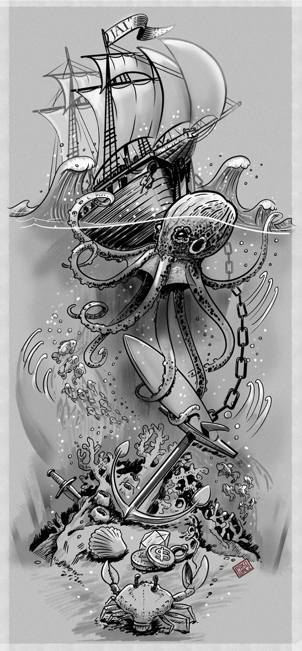 Octopus Shipwreck Drawing SURFING / OCEAN THEME ...