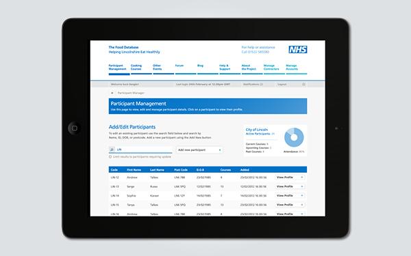 nhs  database UI  website