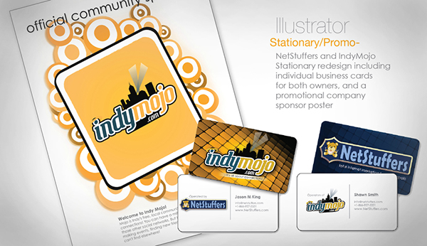 Indymojo Netstuffers Business Cards poster redesign